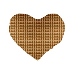 Pattern Gingerbread Brown Standard 16  Premium Flano Heart Shape Cushions by Simbadda