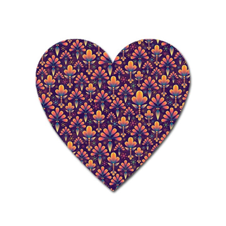 Abstract Background Floral Pattern Heart Magnet