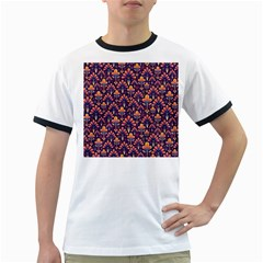 Abstract Background Floral Pattern Ringer T Shirts by Simbadda