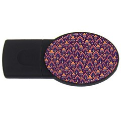 Abstract Background Floral Pattern Usb Flash Drive Oval (4 Gb) by Simbadda