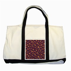 Abstract Background Floral Pattern Two Tone Tote Bag by Simbadda