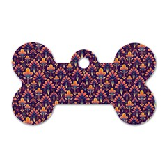 Abstract Background Floral Pattern Dog Tag Bone (one Side) by Simbadda