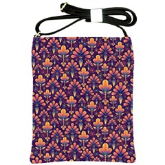Abstract Background Floral Pattern Shoulder Sling Bags by Simbadda