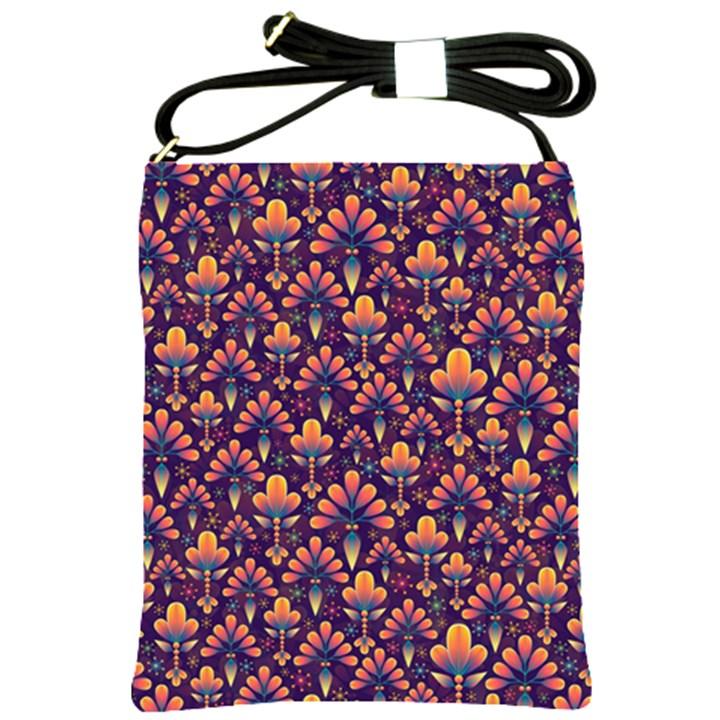 Abstract Background Floral Pattern Shoulder Sling Bags