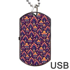 Abstract Background Floral Pattern Dog Tag Usb Flash (one Side) by Simbadda