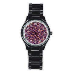Abstract Background Floral Pattern Stainless Steel Round Watch by Simbadda