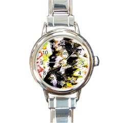 Canvas Acrylic Digital Design Round Italian Charm Watch by Simbadda