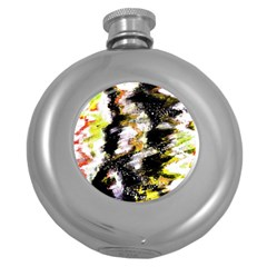 Canvas Acrylic Digital Design Round Hip Flask (5 Oz) by Simbadda