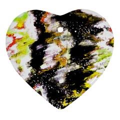 Canvas Acrylic Digital Design Heart Ornament (two Sides) by Simbadda