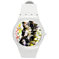 Canvas Acrylic Digital Design Round Plastic Sport Watch (m) by Simbadda
