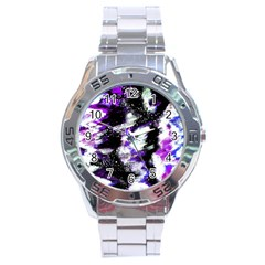 Canvas Acrylic Digital Design Stainless Steel Analogue Watch by Simbadda