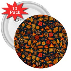 Pattern Background Ethnic Tribal 3  Buttons (10 Pack)  by Simbadda