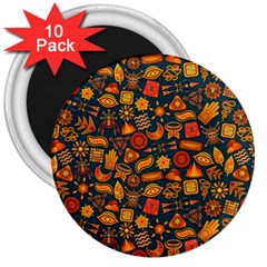 Pattern Background Ethnic Tribal 3  Magnets (10 Pack)  by Simbadda