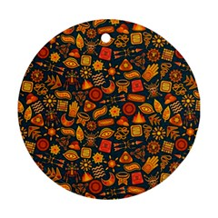Pattern Background Ethnic Tribal Round Ornament (two Sides) by Simbadda