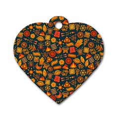 Pattern Background Ethnic Tribal Dog Tag Heart (two Sides) by Simbadda