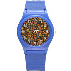 Pattern Background Ethnic Tribal Round Plastic Sport Watch (s) by Simbadda