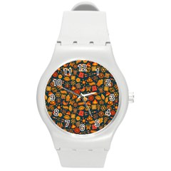 Pattern Background Ethnic Tribal Round Plastic Sport Watch (m) by Simbadda