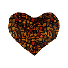 Pattern Background Ethnic Tribal Standard 16  Premium Heart Shape Cushions by Simbadda