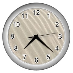 Sand Pattern Wave Texture Wall Clocks (silver)  by Simbadda