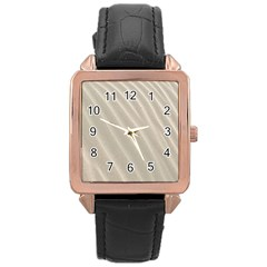 Sand Pattern Wave Texture Rose Gold Leather Watch  by Simbadda