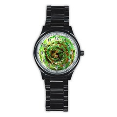 Canvas Acrylic Design Color Stainless Steel Round Watch by Simbadda