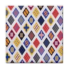 Plaid Triangle Sign Color Rainbow Tile Coasters by Alisyart
