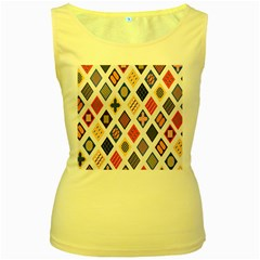 Plaid Triangle Sign Color Rainbow Women s Yellow Tank Top by Alisyart