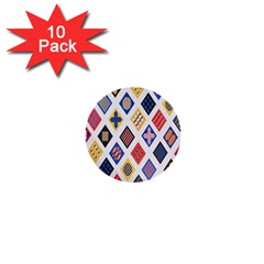 Plaid Triangle Sign Color Rainbow 1  Mini Buttons (10 Pack)  by Alisyart