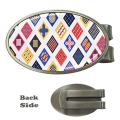 Plaid Triangle Sign Color Rainbow Money Clips (oval)  by Alisyart