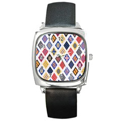Plaid Triangle Sign Color Rainbow Square Metal Watch by Alisyart
