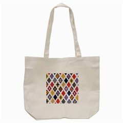 Plaid Triangle Sign Color Rainbow Tote Bag (cream) by Alisyart