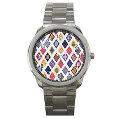 Plaid Triangle Sign Color Rainbow Sport Metal Watch by Alisyart