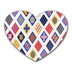 Plaid Triangle Sign Color Rainbow Heart Mousepads by Alisyart