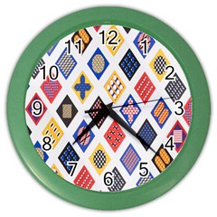 Plaid Triangle Sign Color Rainbow Color Wall Clocks by Alisyart