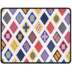 Plaid Triangle Sign Color Rainbow Double Sided Fleece Blanket (medium)  by Alisyart