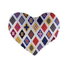 Plaid Triangle Sign Color Rainbow Standard 16  Premium Flano Heart Shape Cushions by Alisyart