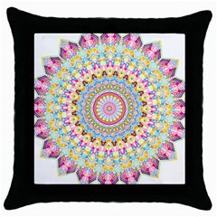 Kaleidoscope Star Love Flower Color Rainbow Throw Pillow Case (black) by Alisyart