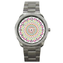 Kaleidoscope Star Love Flower Color Rainbow Sport Metal Watch by Alisyart