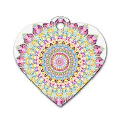 Kaleidoscope Star Love Flower Color Rainbow Dog Tag Heart (one Side) by Alisyart