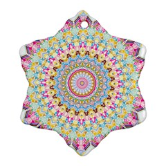 Kaleidoscope Star Love Flower Color Rainbow Snowflake Ornament (two Sides) by Alisyart