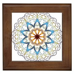 Prismatic Flower Floral Star Gold Green Purple Orange Framed Tiles by Alisyart