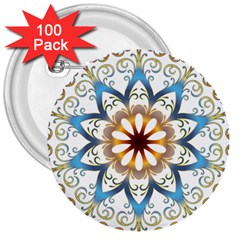 Prismatic Flower Floral Star Gold Green Purple Orange 3  Buttons (100 Pack)  by Alisyart
