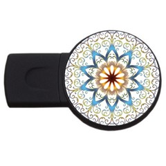 Prismatic Flower Floral Star Gold Green Purple Orange Usb Flash Drive Round (4 Gb) by Alisyart