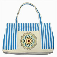 Prismatic Flower Floral Star Gold Green Purple Orange Striped Blue Tote Bag by Alisyart