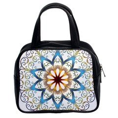 Prismatic Flower Floral Star Gold Green Purple Orange Classic Handbags (2 Sides) by Alisyart