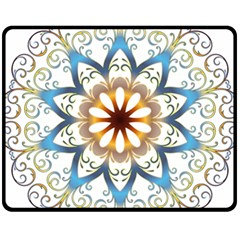 Prismatic Flower Floral Star Gold Green Purple Orange Fleece Blanket (medium)  by Alisyart