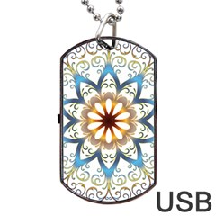 Prismatic Flower Floral Star Gold Green Purple Orange Dog Tag Usb Flash (two Sides) by Alisyart