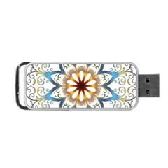 Prismatic Flower Floral Star Gold Green Purple Orange Portable Usb Flash (one Side) by Alisyart