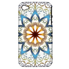 Prismatic Flower Floral Star Gold Green Purple Orange Apple Iphone 4/4s Hardshell Case (pc+silicone) by Alisyart