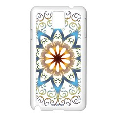 Prismatic Flower Floral Star Gold Green Purple Orange Samsung Galaxy Note 3 N9005 Case (white)